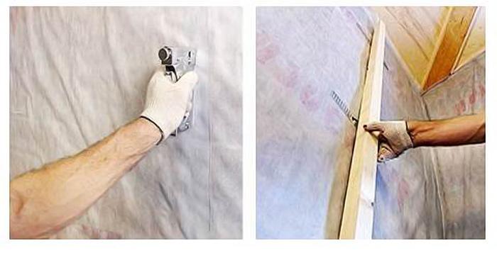 Крепление материала паробарьера к стойкам провожу степлером
