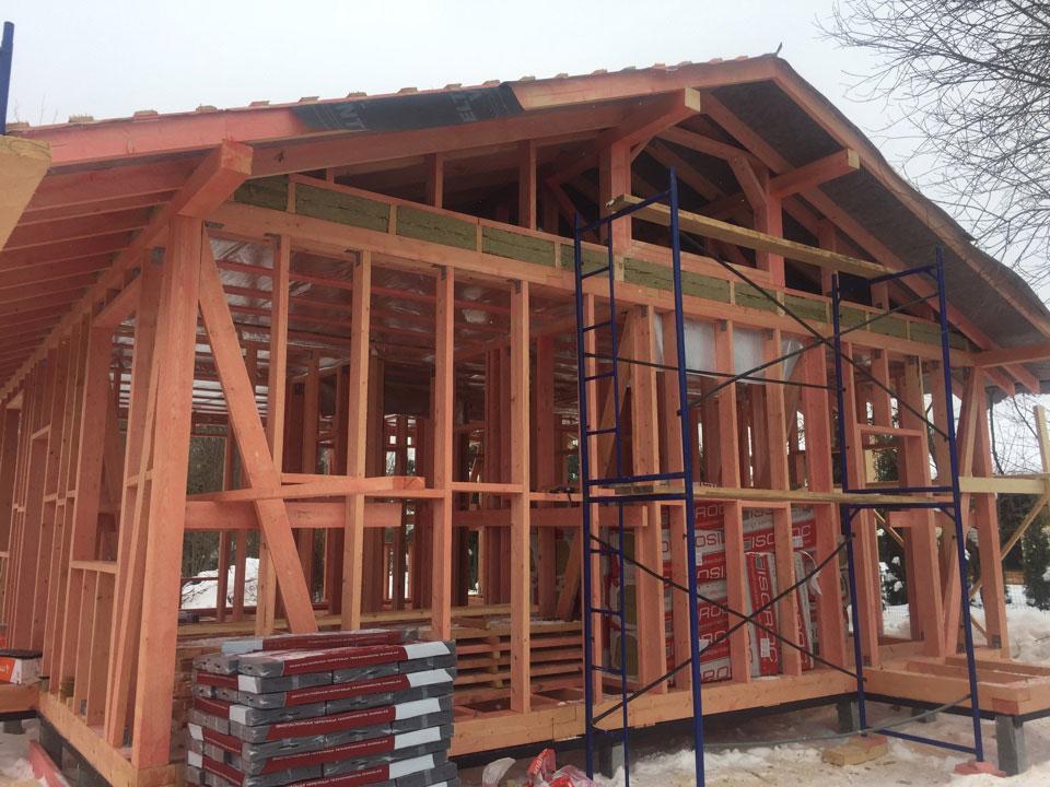 Устройство двухскатной крыши в каркасном дом